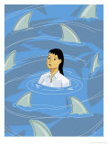 Businesswoman Being Circled by Shark Fins Art