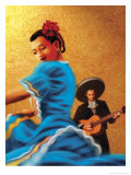 Mariachi and Flamenco Dancer Kunstdruck