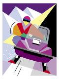 A Person Riding a Snowmobile Umělecké plakáty