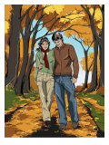 Couple Walking Down Street Print