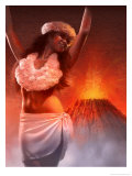 A View of Pele, the Hawaiian Goddess of the Volcano Poster