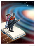 A Male Instructor and Female Student Standing on an Open Book That is Flying Through Space Affiches