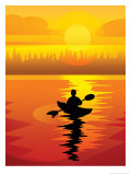 Kayaker at Sunset Poster