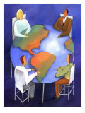People Meeting at Global Table Poster