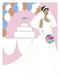 Bride Posing in Front of a Wedding Cake, Grouped Elements Art