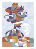 An Abstract of a Male Drinking Coffee Affiche