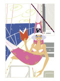A Woman in a Bikini Reading a Book in a Hammock on a Yacht Looking at the Viewer Affiche