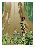 An Amazon Native Standing by a Gigantic Tree in the Jungle Print