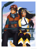 Couple on a Ski Lift Posters