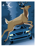 Deer Running in Front of a Car Prints