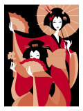 Two Japanese Geisha Prints
