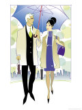 A Man and Woman Sharing an Umbrella as They Walk in the City Affiches