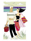 Young Adult Caucasian Male and Female Walking on a Beach, the Male is Carrying a Picnic Basket Posters