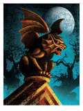 Gargoyle Against Night Sky Affiches