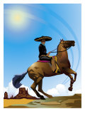 Mexican Caballero on Horseback, Grouped Elements Affiches