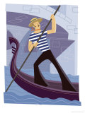 Man Rowing Gondola Poster