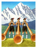 Three Swiss Men Playing Alphorns Art