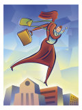 A Woman Flying Over Buildings Carrying a Baby and a Briefcase Affiche