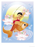 Japanese Child Riding on a Carp Print