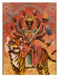 A View of Durga, the Indian Goddess of War, Sitting on a Tiger Posters