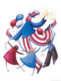 Uncle Sam Dancing in a Circle with Three Children Affiches