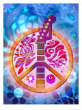 60s Style Peace Sign with Guitar Neck Posters