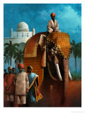 Indian Man Riding Elephant Poster