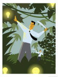 Businessmen in Jungle with Machete and Idea Lightbulbs Prints