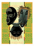 African Masks and Patterns Affiches