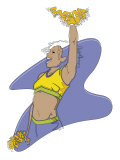 A Young Adult African-American Female Cheerleader Performing a Cheer Posters