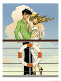 Couple on Deck of a Cruise Ship Prints