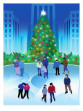 People Ice Skating by a Christmas Tree Prints