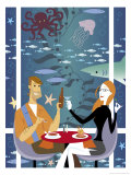 Couple in Underwater Restaurant Affiches