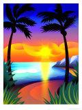 Coucher de soleil sous les tropiques Affiches