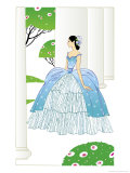 A Young Adult Caucasian Southern Belle in a Ballroom Dress Standing on a Porch Posters