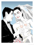 Bridal Couple Toasting with Champagne Glasses Prints