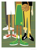 Close-Up of Children's Legs with Basketball Giclee Print