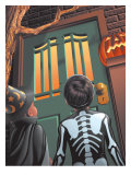 Children Approaching Front Door to Trick-Or-Treat Posters