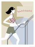 Woman Walking on a Treadmill Posters