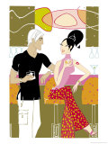 Couple Sitting in a Bar Talking Affiches