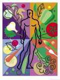 Vegetables and Man in Abstract Display Affiches