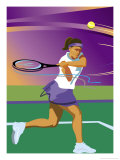 A Female Tennis Player Swinging at a Tennis Ball Affiches