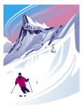 Swiss Alps Ski Scene Affiches
