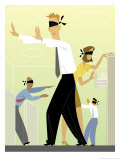 Blindfolded Businesspeople Walking Around Office Prints
