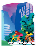 Cyclists on Mountain Trail Print