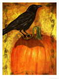 Crow Standing on Pumpkin Poster