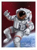 An Astronaut Floating Through Space Giclee Print
