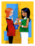 Two Pregnant Women Exchanging Gifts Poster