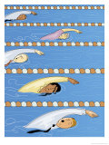 Businesspeople Swimming in Competition Prints