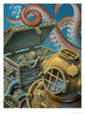 A Deep Sea Diving Suit, Treasure Chest, Compass and Octopus at the Bottom of the Ocean Posters